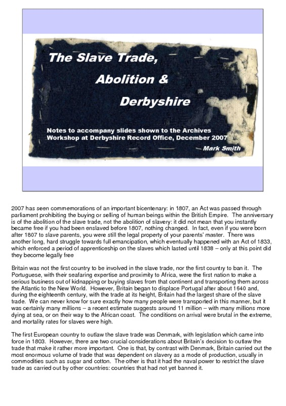Derbyshire Slavery Project