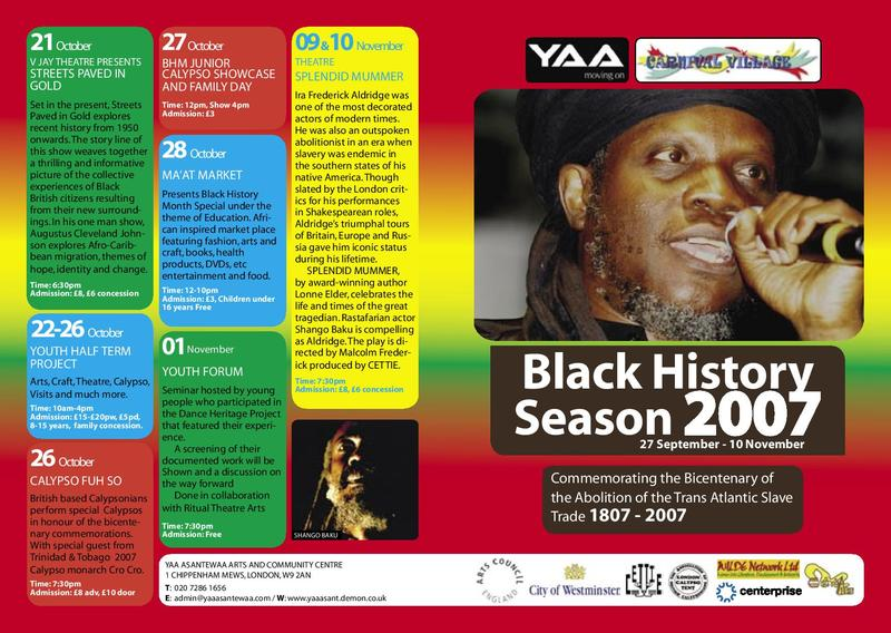 Black History Season 2007: Commemorating the Bicentenary of the Abolition of the Trans Atlantic Slave Trade 1807-2007