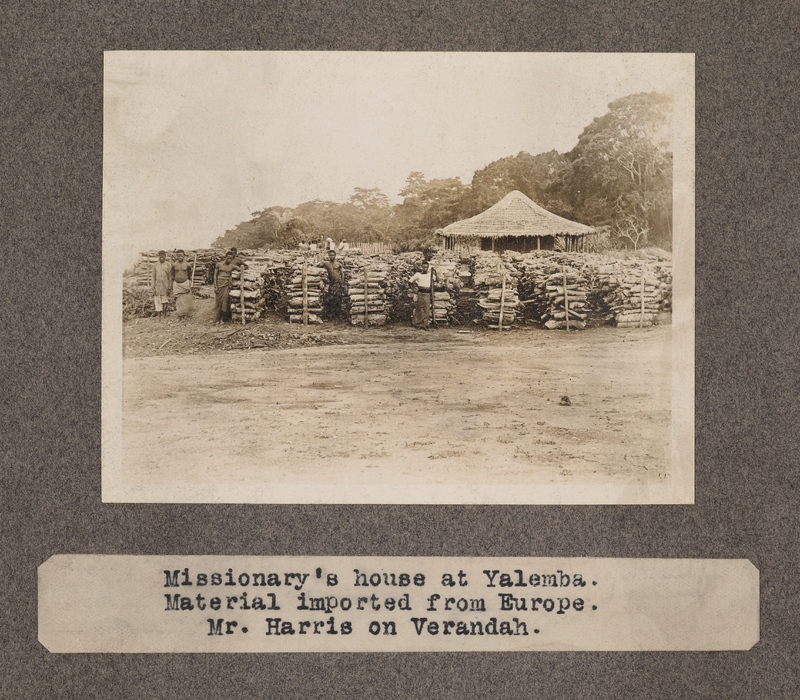 Missionary's house at Yalemba. Material imported from Europe. Mr. Harris on verandah