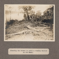 Clearing the forest to erect a trading factory on the Kasai