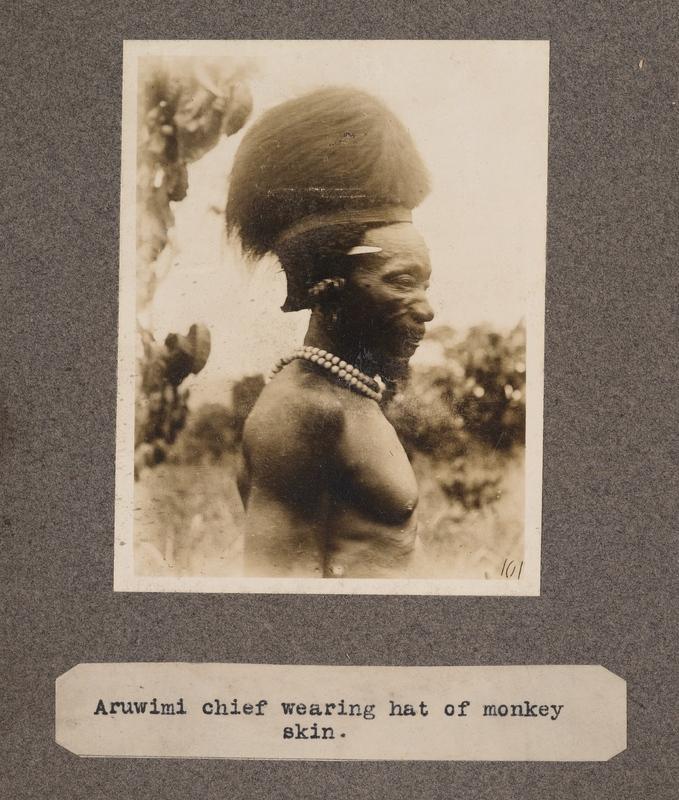 Aruwimi chief wearing hat of monkey skin