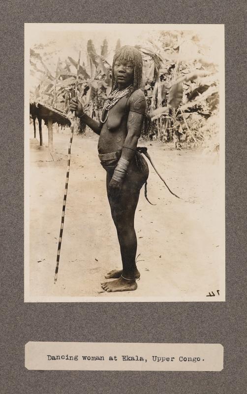 Dancing woman at Ekala, upper Congo