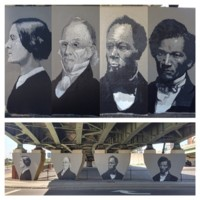 Shawn Dunwoody, Historic Rochester mural, Interstate 490 bridge at W Main St, Rochester, 2014.jpg