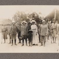 No original caption Mrs Harris with group of African soldiers and others